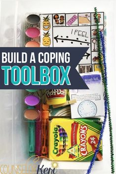Building a Coping Toolbox Build a coping toolbox to help your students use coping skills during the summer or when they're on their own at home! Grab some art activities, journals, calming strategy cards, and more to build a coping skills kit with your st Coping Skills List, Coping Skills Activities, Health Activities, Life Skills, Art Activities, Summer Activities, Outdoor Activities, Social Work, Social Skills