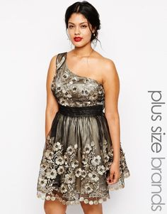 Shop Chi Chi Plus Floral Lace One Shoulder Prom Dress at ASOS.