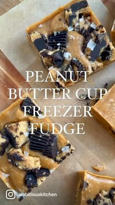 Incredible no bake peanut butter fudge made with just 5 simple ingredients! This easy peanut butter freezer fudge has chunks of peanut butter cups in every bite for the ultimate dessert that's gluten free, low carb, and easily vegan & dairy free. Frozen Desserts, Summer Desserts, Healthy Desserts, Delicious Desserts, Healthy Food, Healthy Recipe Videos, Sweet Potato Recipes Healthy, Low Carb Peanut Butter, Peanut Butter Fudge