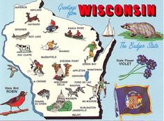 """WISCONSIN- had to memorize these facts for """"Badger History Month"""" when I was 10 yrs. old!"""