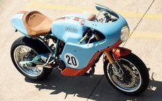 Ducati racer in Gulf Oil colours Ducati Sport Classic, Classic Cars, Classic Motorcycle, Ducati Cafe Racer, Cafe Racers, Vintage Bikes, Vintage Motorcycles, Custom Motorcycles, Custom Bikes