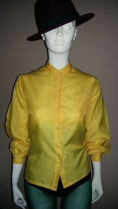 Vintage 1980's Long Sleeved Yellow Day Blouse by Ditto Ditto. Size 14. by Diamondsshabbychic on Etsy