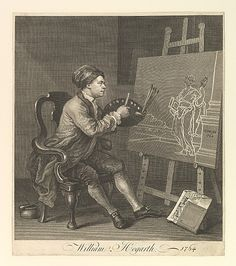 Hogarth Painting the Comic Muse. William Hogarth - 1764. Engraving