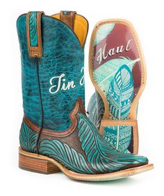 529eca432e48 Tin Haul Brown   Teal Feather Leather Cowboy Boot - Women