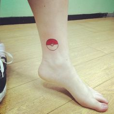 This is my Pokeball ankle tattoo.