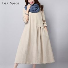 New Fall Women's Fashion Vintage Loose Big Yards National Wind Linen Cotton Dress High Quality Casual Dress Female Q201