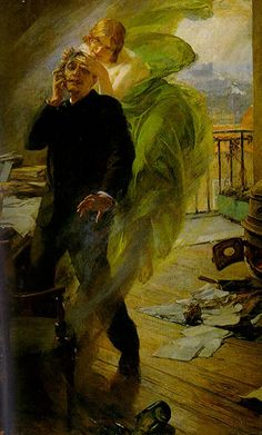 """Albert Pierre René Maignan, The Green Muse (La muse verte) 1895. The Green Fairy is the English translation of La Fee Verte, the affectionate French nickname given to the celebrated absinthe drink in the nineteenth century. The nickname stuck, and over a century later, """"absinthe"""" and """"Green Fairy"""" continue to be used interchangeably by devotees of the potent green alcohol. Absinthe earned other nicknames, too: poets and artists were inspired by the """"Green Muse""""."""