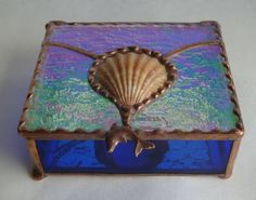 Stained Glass Shell Box with Iridescent Glass Lid by KeiberGlass