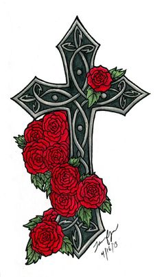 Art cross with roses