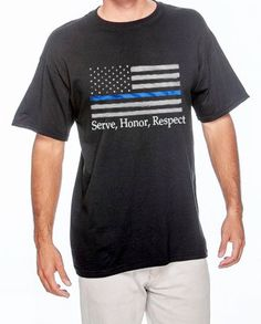 Thin blue line flag tshirtmens police by loveblueline on Etsy, $18.00