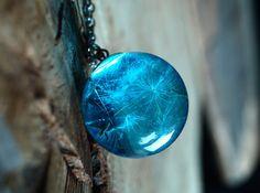 Real dandelion necklaceBlue dandelion necklaceGlass by ShoShanaArt