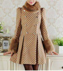 $52.56 Elegant Long Sleeve Polka Dot Print Convertible Fur Collar Double Breasted Wide Hem Coat For Women
