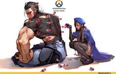 Overwatch art,Overwatch,Blizzard,Blizzard Entertainment,фэндомы,Ana Amari,Reinhardt