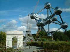 Why is the Eiffeel Tower near the Atomium in Brussels and why is the former smaller than the latter? Simple? The Atomium is real, the rest is Mini Europe, just beside it. Worth a visit.