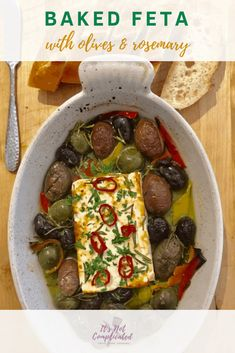 Baked Feta with Olives and Rosemary - It's Not Complicated Recipes Yummy Appetizers, Appetizer Recipes, Cheese Recipes, Baked Feta Recipe, Mediterranean Appetizers, Rosemary Recipes, Appetisers, Brunch Recipes
