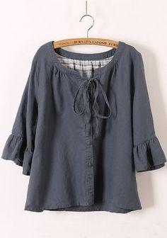 Grey Drawstring V-neck Bat Sleeve Linen Blend Blouse