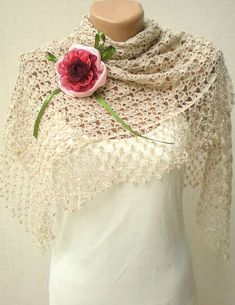 This crochet bridal shawl comes from CrochetButterfly