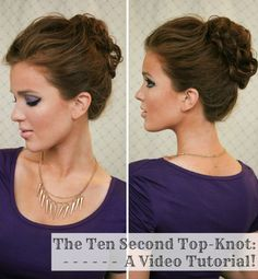 The ten second top-knot: a video tutorial! the ten second top-knot: a video tutorial! Cute Hairstyles Updos, Work Hairstyles, Hairdos, Wedding Hair Colors, Hair Comb Wedding, Bridesmaid Hair Side, Bridesmaids, Lady Lovely Locks, Freckled Fox