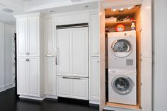 Hidden Washer Dryer - Design photos, ideas and inspiration. Amazing gallery of interior design and decorating ideas of Hidden Washer Dryer in closets, living rooms, laundry/mudrooms, kitchens by elite interior designers. Washer And Dryer, Closet Storage, Room Storage Diy, Laundry, White Kitchen Design, Hidden Laundry, Laundry In Kitchen