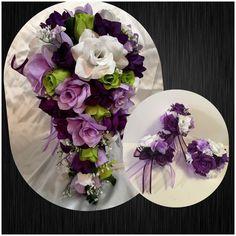 Wedding Bridal Bouquet Cascade Lavender Purple Green Silk Rose Flower Package  | eBay