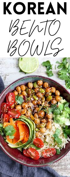 These Korean Bento Bowls are full of nutrients and are so delicious. They're such a healthy lunch or dinner. Vegan!