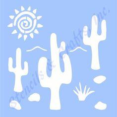 "3.25"" CACTUS SAGUARO STENCIL WESTERN SUN SOUTHWESTERN STENCILS TEMPLATE ART NEW #STENCILSCRAFTSINC"