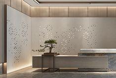 展厅设计 White Things white color for trim Office Reception Design, Modern Reception Desk, Asian Interior, Japanese Interior, Lobby Interior, Office Interior Design, Lobby Reception, Reception Counter, Counter Design