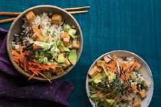 Sushi Rice Bowls with Tofu Teriyaki. Crisp tofu bites are perched atop nori-flecked sushi rice for a comforting meal in a bowl.