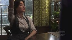 """Jaime Murray as HG Wells again...love the fashion sense and her spunk. ;) """"I'm here!"""" """"That's great, you get a gold star"""""""