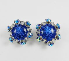 Unique Vintage Rhinestone Earrings Sapphire by SparklyKreations