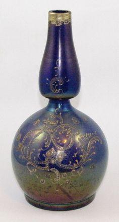❤ - Loetz | Enameled Barber bottle, ca. 1900.
