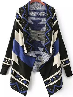 Shop Blue and Black Draped Front Geommetric Cardigan online. Sheinside offers Blue and Black Draped Front Geommetric Cardigan & more to fit your fashionable needs. Free Shipping Worldwide!