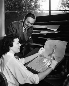 Walt Disney with Marcia Sinclair in the making of Alice in Wonderland, They are in the Ink and Paint Department, where animator's drawings are transferred onto acetate and painted. Walt Disney Quotes, Walt Disney Pictures, Walt Disney World, Disney Couples, Old Disney, Disney Art, Disney Pixar, Disney Theme, Disney Dream