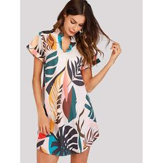 Shop Tropical Print V Cut Curved Hem Dress online. SHEIN offers Tropical Print V Cut Curved Hem Dress & more to fit your fashionable needs. Fashion News, Fashion Beauty, Ladies Fashion, Womens Fashion, Girl Fashion, Mode Boho, V Cuts, Latest Dress, Asymmetrical Dress