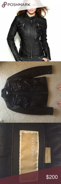Michael Kors Black Leather Moto Scuba Biker Jacket Great condition! Non smoking home. No imperfections on leather and all zippers work perfectly. Size XS. Michael Kors Jackets & Coats