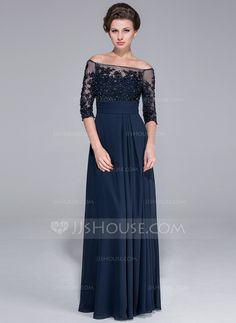 A-Line/Princess Off-the-Shoulder Floor-Length Beading Appliques Lace Sequins Zipper Up Sleeves 1/2 Sleeves No 2014 Dark Navy General Plus Chiffon Mother of the Bride Dress