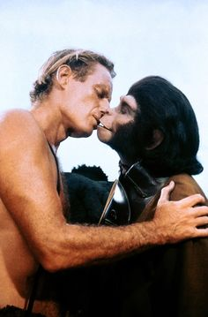 Charlton Heston and Kim Hunter in 'Planet of the Apes', 1968.