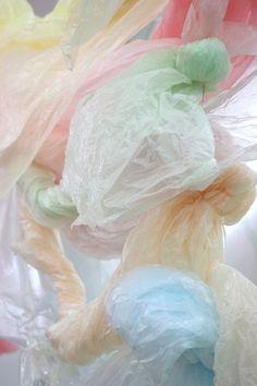 Pastel plastic bag art
