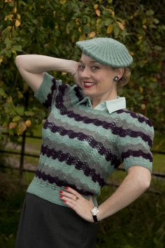 Fiona Harrison in a mint green jumper and matching beret both knitted by Bliz Knits 1940s Fashion, Vintage Fashion, Edwardian Fashion, 1940s Outfits, Vintage Outfits, Vintage Knitting, Vintage Crochet, Glamorous Evening Gowns, Chunky Knitwear
