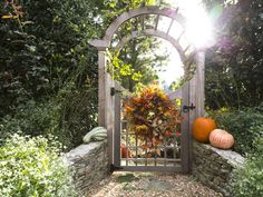 Fall wreaths don't just belong on front doors, use dried fall flowers and fo. Fall wreaths don Gate Pictures, Georgia, Gate Design, Garden Gates, Porch Garden, Garden Doors, Patio, Autumn Garden, Fall Flowers