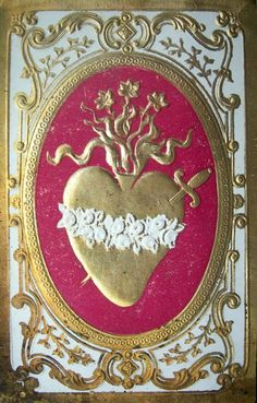 A late 19th century holy card of the Immaculate Heart of Mary.