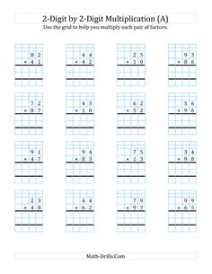 The 2-Digit by 2-Digit Multiplication with Grid Support (A) math worksheet from the Long Multiplication Worksheet page at Math-Drills.com.