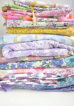 Big stack of vintage fabrics <3    Vintage Fabric Blue and Orange Flowers on Etsy, £1.90