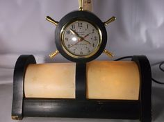 Art Deco Ship Gibraltar Nautical Ships Wheel  Self-Start Electric Clock & TV Lamp Works!! .epsteam by retroricks on Etsy