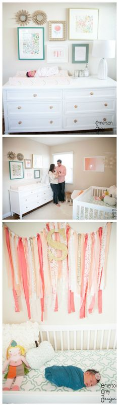 Coral, Teal and Gold Baby Girl Nursery - love the pretty gallery wall over the changing table!