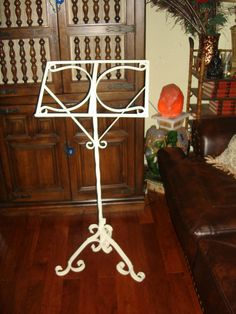 antique wrought iron music stand ornate shabby by funknjunkinc, $145.00