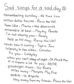 These are perfect sad day songs. Therapy by All Time Low should be added to that list. These are perfect sad day songs. Therapy by All Time Low should be added to that list. Music Mood, Mood Songs, Band Quotes, Music Quotes, Playlists, Indie, Song List, Song Playlist, Summer Playlist