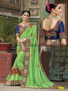 Green Silk Designer Wedding Saree