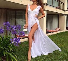 Boho Women Summer Vestidos Chiffon Cardigan Long Swimwear With Belt Bathing Suit Sexy Beach Bikini Swimwear Cover Up Tops