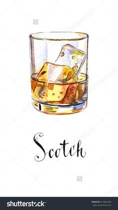 Glass of scotch whiskey brandy with ice cubes, hand drawn - watercolor Illustration-食品及饮料,物体-海洛创意(HelloRF)-Shutterstock中国独家合作伙伴-正版素材在线交易平台-站酷旗下品牌